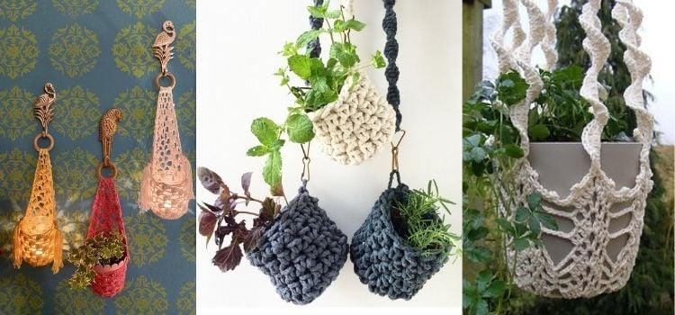 penduradores de planta de crochê