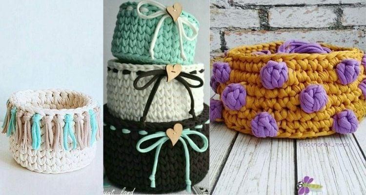 três opções de cachepô de crochê com detalhes