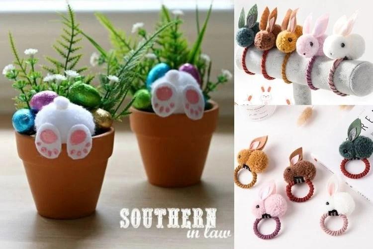 coelhinhos artesanais para enfeitar mesa de Páscoa
