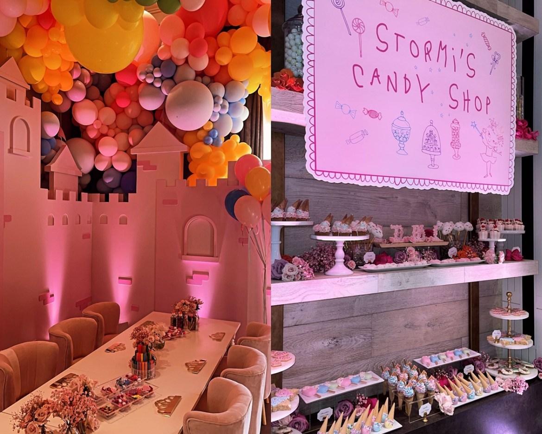Doces e mesa da terceira festa de aniversário da filha de Kylie Jenner.