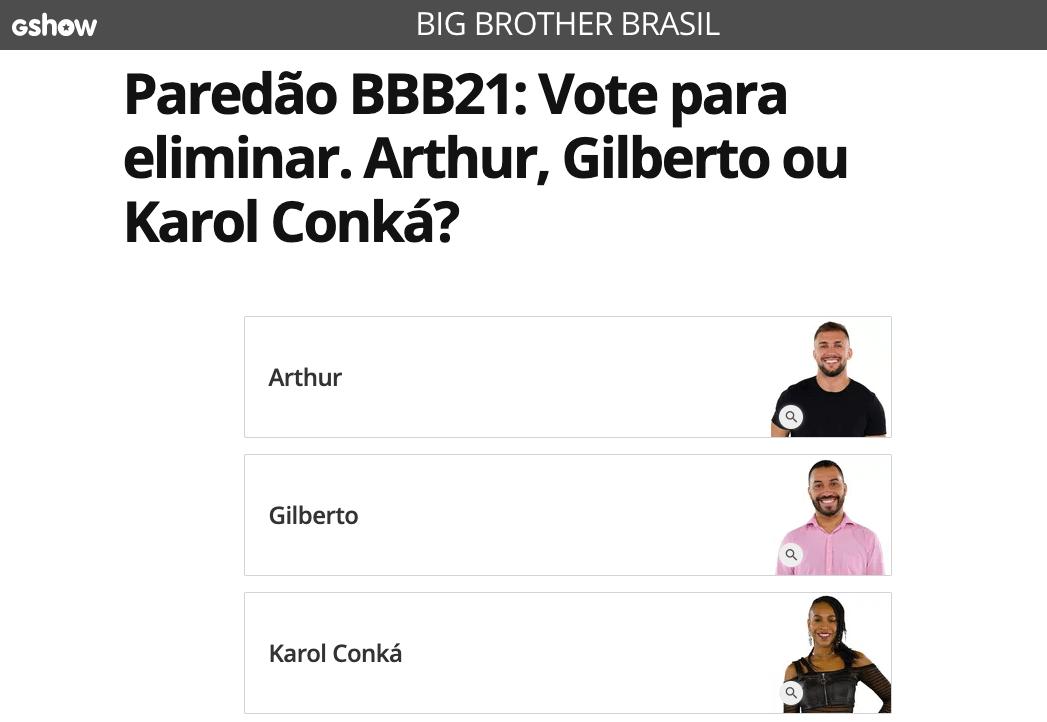 Como votar no Gshow para o BBB21 - Globo