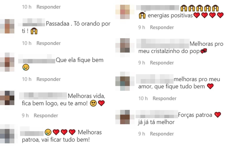 Comentários dos fãs orando por Anitta.