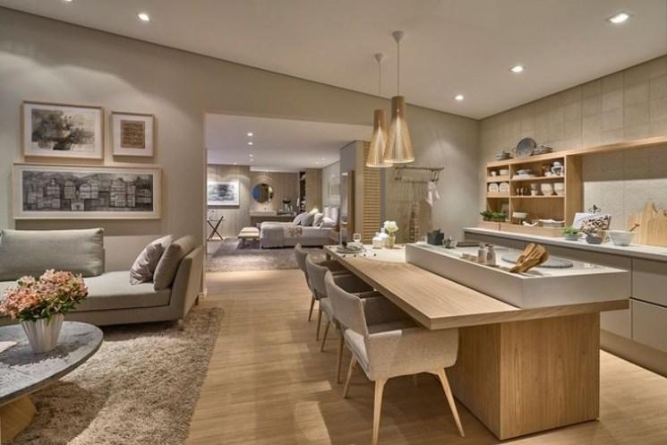 Cozinha integrada com sala com balcão