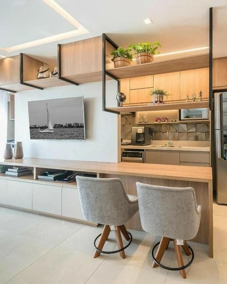 Cozinha integrada com sala