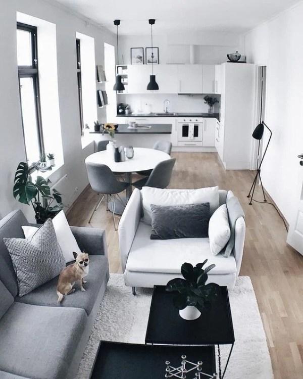Cozinha integrada com sala pequena