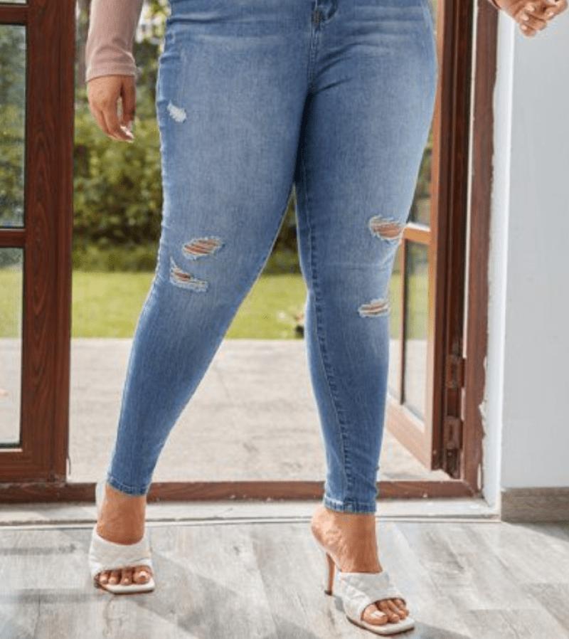 Calça jeans e sapato 2021 estilo tamanco com bico quadrado
