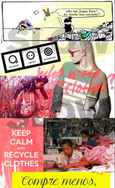 colagem de imagens com frases sobre a slow fashion