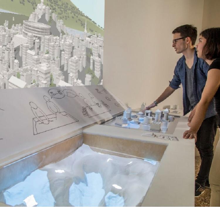 visitantes observando projeto arquitetônico 3D