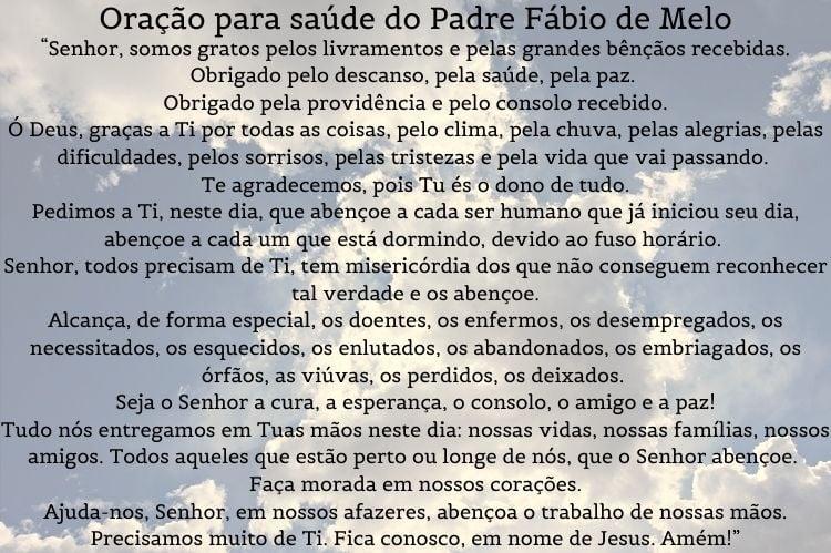 orações para saúde do Padre Fábio de Melo