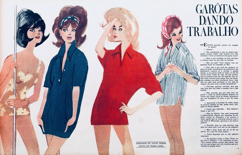 """""""Garotas dando trabalho"""", desenho de Alceu Penna, 1964."""