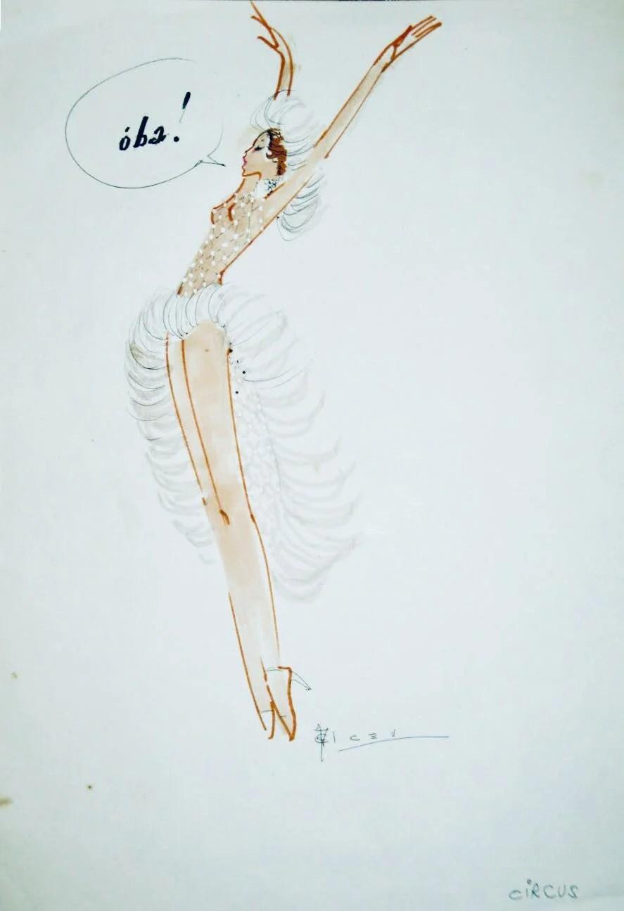 """Ilustração de Alceu Penna para o espetáculo """"Circus"""", em 1974."""
