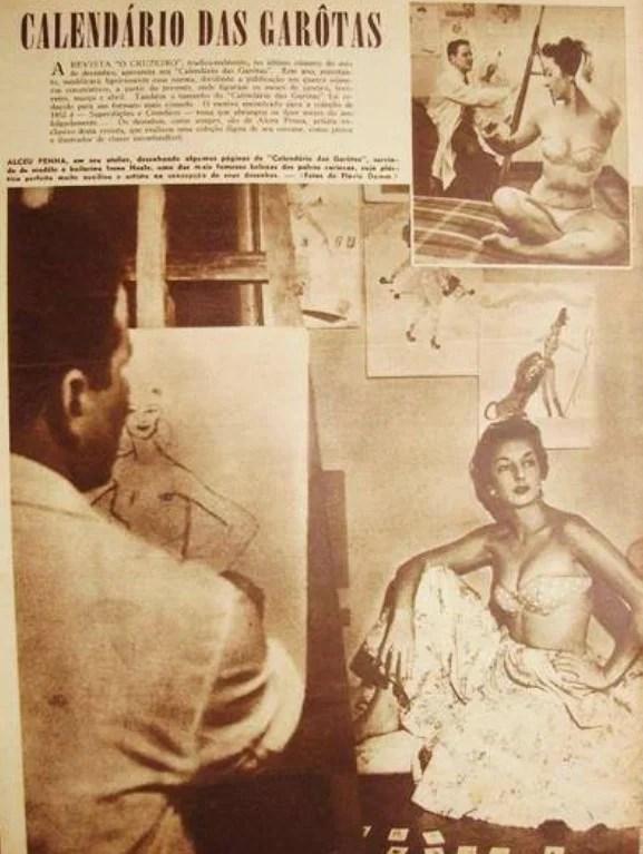 """Alceu Penna a retratando uma modelo em """"O Cruzeiro"""", 1948."""