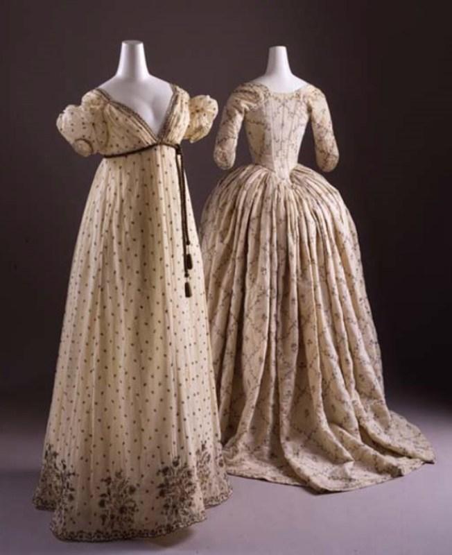 Vestido francês de noite de algodão e fios metálicos, c. 1810.
