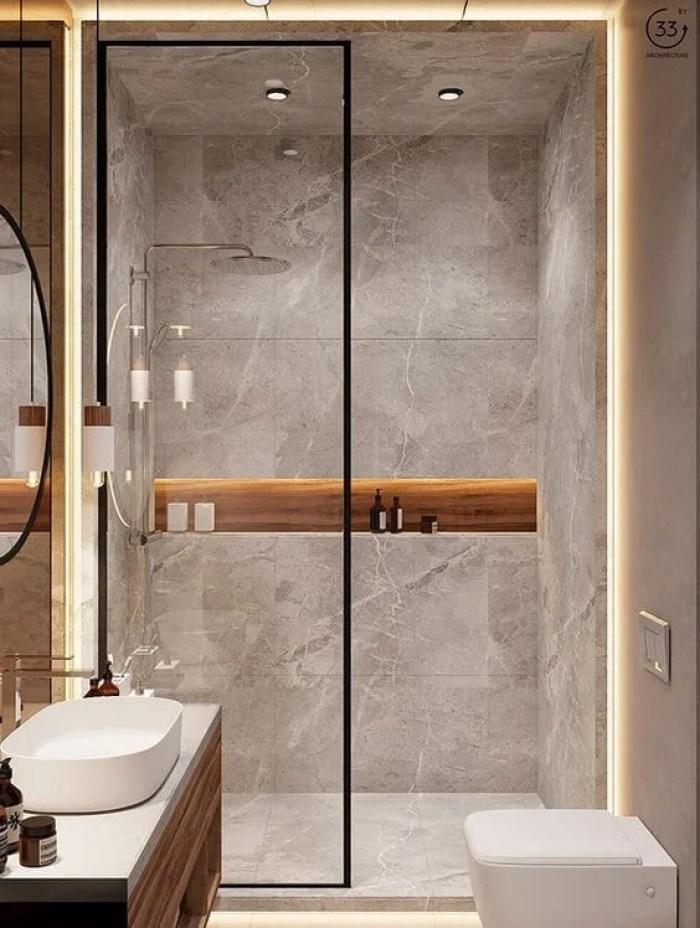 Banheiro cinza.