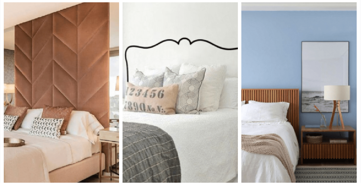 Três imagens de cabeceira de cama.