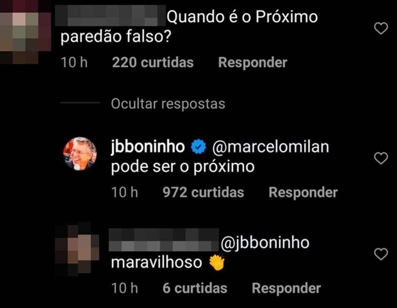 Comentários de Boninho e fãs sobre paredão falso.