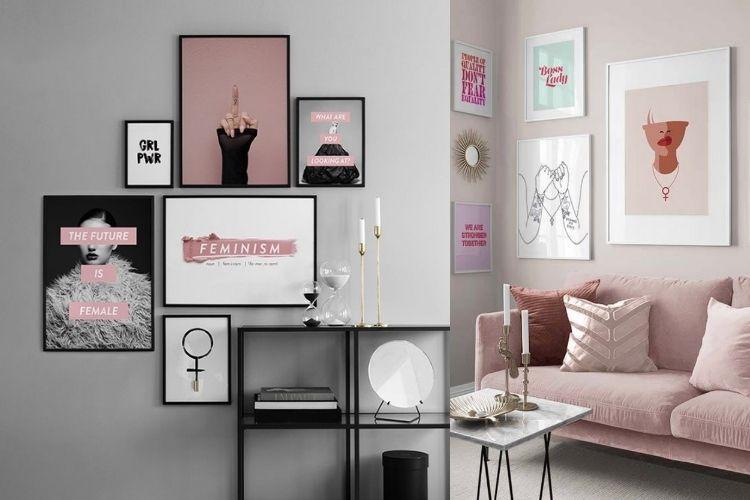 composição de quadros na decoração feminina