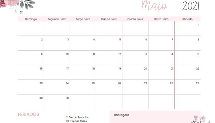 planner Calendário do mês de maio 2021