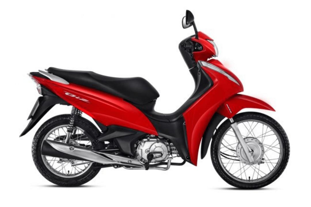 Imagem de uma Honda Biz 110i vermelha.