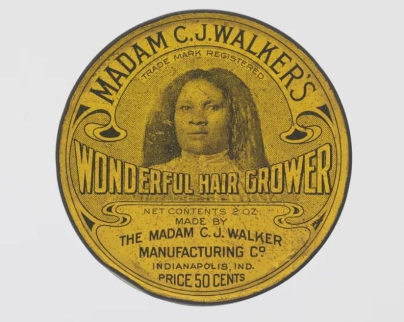 "A famosa pomada de Madam C.J. Walker's, o ""Wonderful Hair Grower""."
