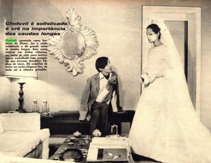Matéria com Clodovil Hernandes na Revista Manchete onde ele é chamado de herdeiro de Dener.
