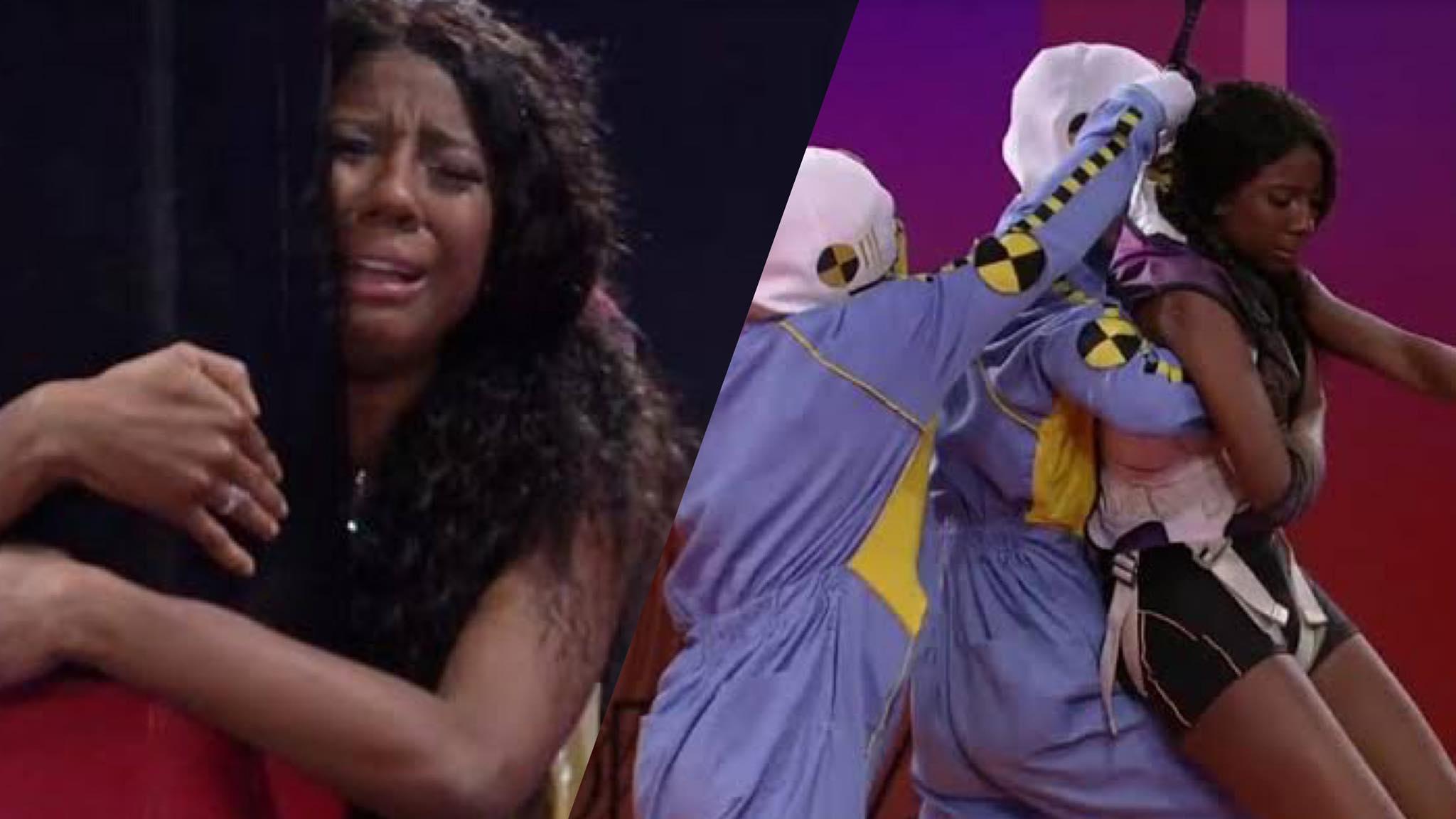 Camilla de Lucas é a primeira a desistir da Prova de Resistência que vale vaga para a final do BBB 21. (montagem: Fashion Bubbles)