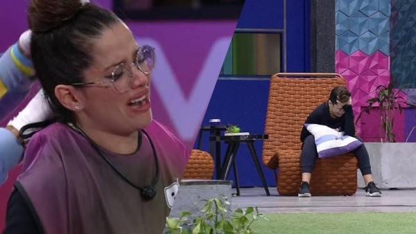 Juliette chora na sacada da casa do BBB 21. Ela já esta no paredão ao lado de Camilla (montagem: Fashion Bubbles)