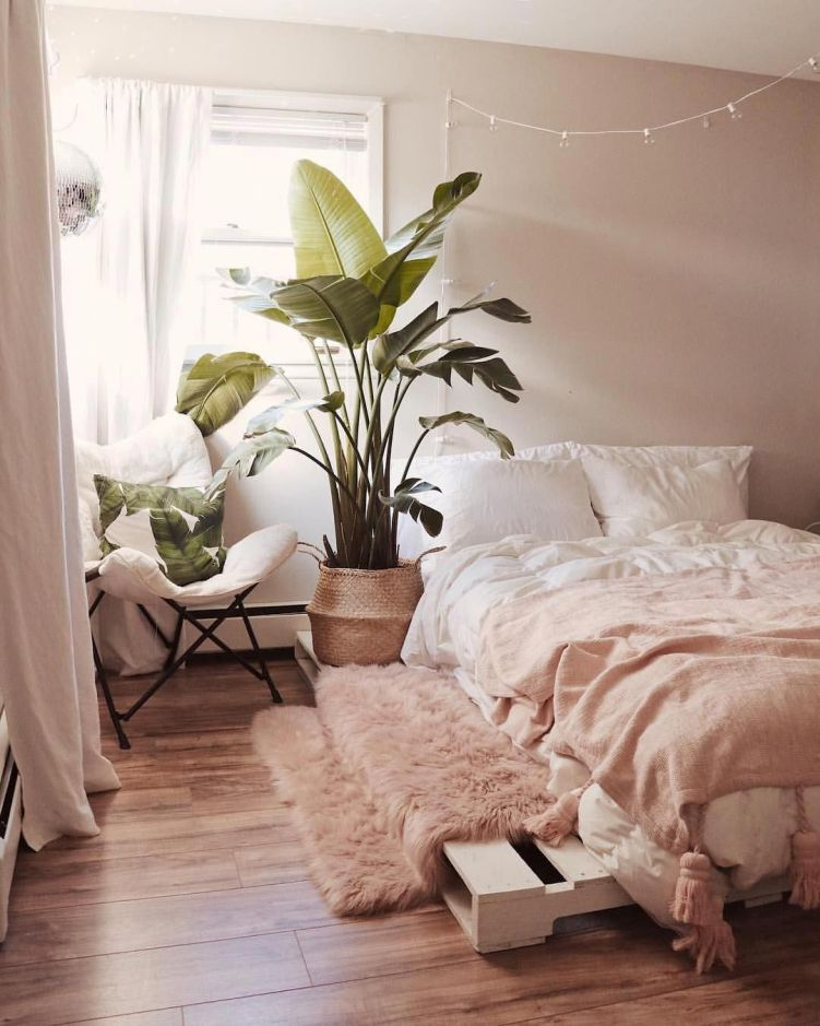 Vaso de plantas ao lado da cama.