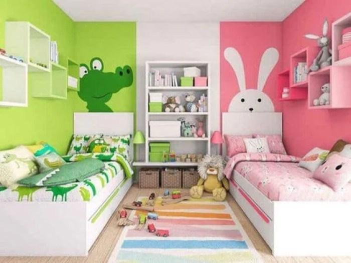 Quarto duplo verde e rosa.