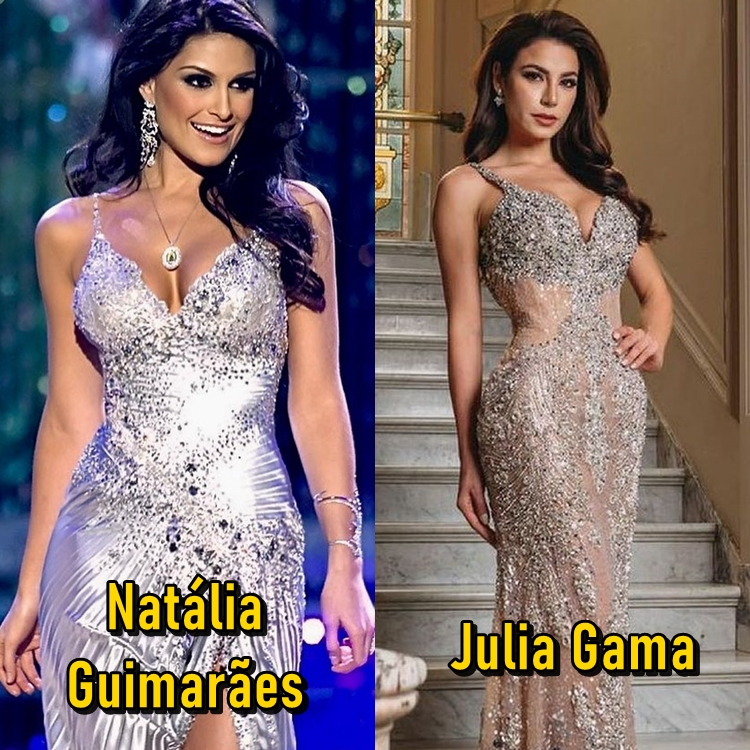 Natália Guimarães no Miss Universo 2007 e Julia Gama no Miss Universo 2021.