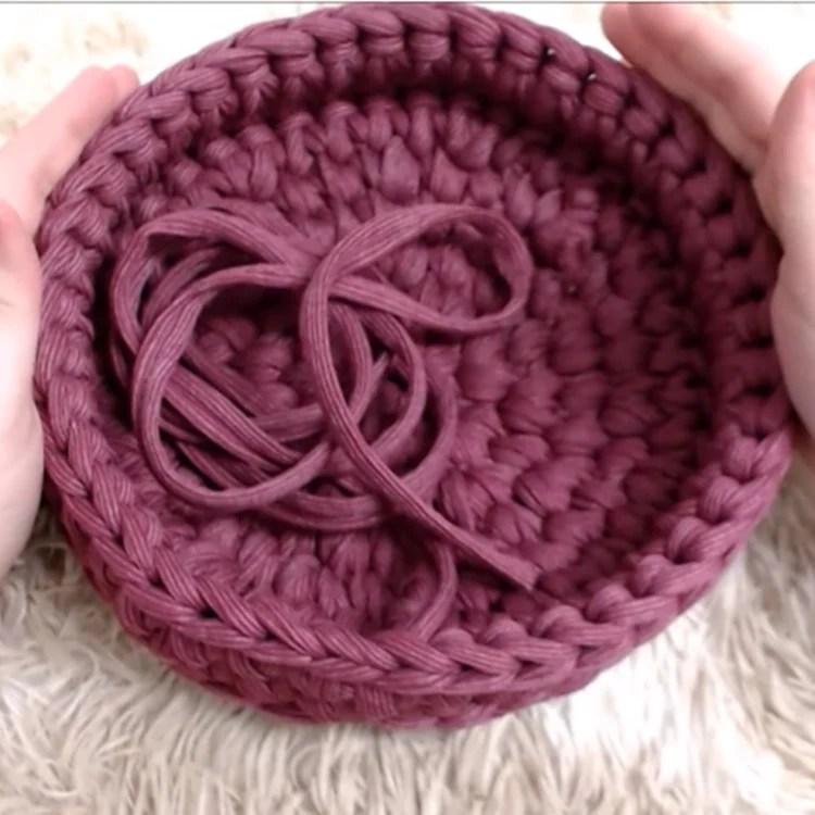 Resultado final da primeira parte da Bolsa de Crochê Boho.