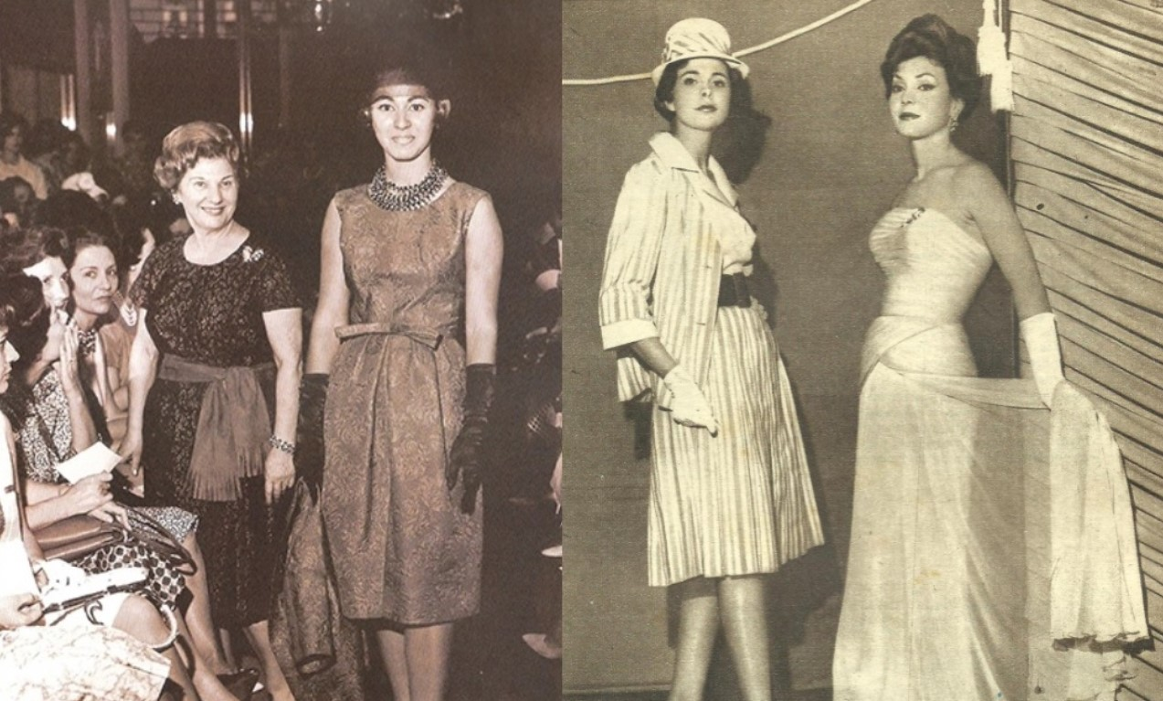 Madame Rosita em desfile na maison, em 1957.