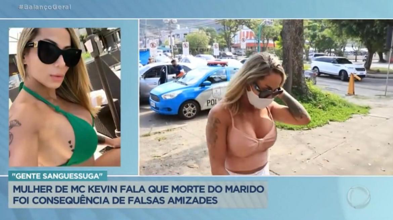 Bianca Domingues fala vai à delegacia prestar depoimento no RJ (imagem: reprodução Record TV)