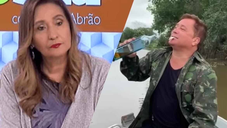 Sonia Abrão coloca Leonardo na geladeira, após sertanejo comer um peixe vivo (montagem: Fashion Bubbles)