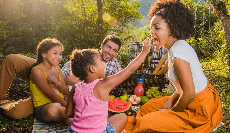Família fazendo piquenique.