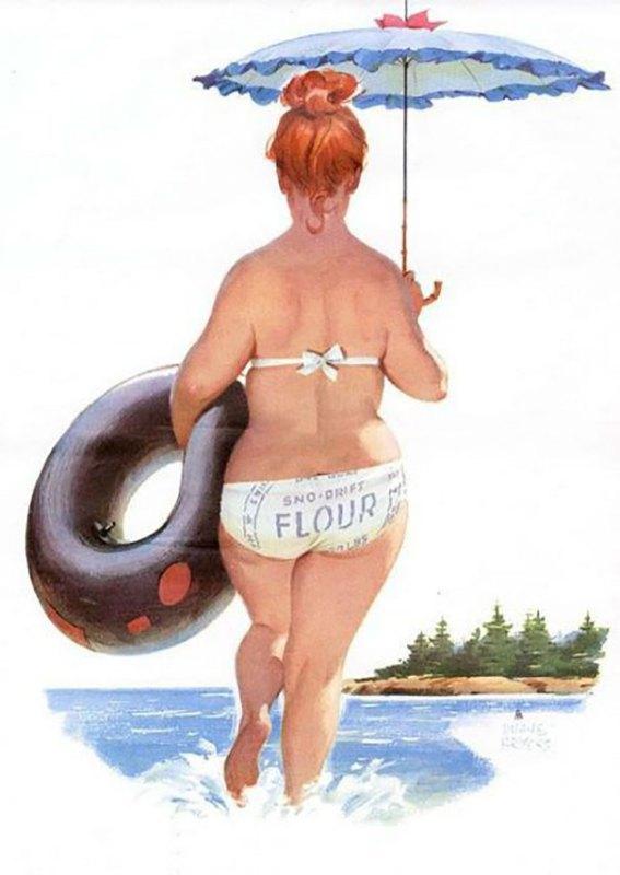 Ilustração da Pin-up Hilda de Duane Bryers.