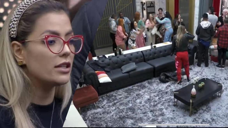Li Martins conta para amigas que foi empurrada por Márcia Fellipe em retorno à mansão Power Couple (montagem: Fashion Bubbles)