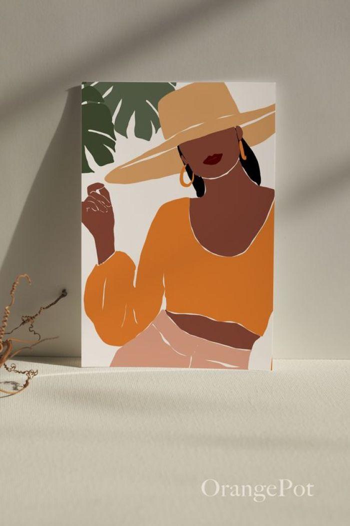 Quadro colorido com mulher desenhada.