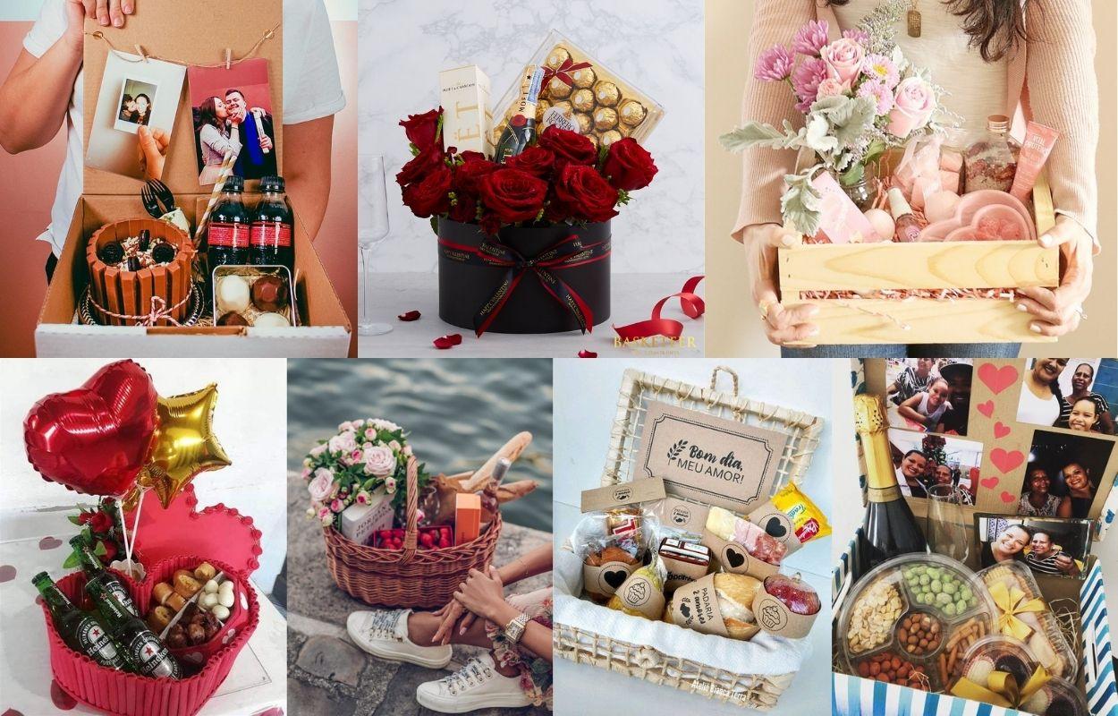montagem com sete opções de cesta para o Dia dos Namorados