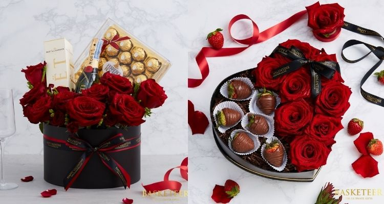 caixa de chocolates e rosas vermelhas