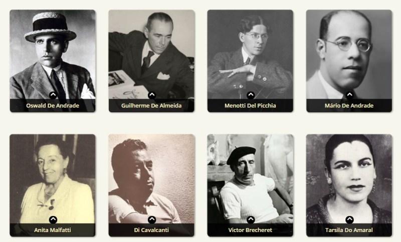 Alguns dos principais artistas modernistas.
