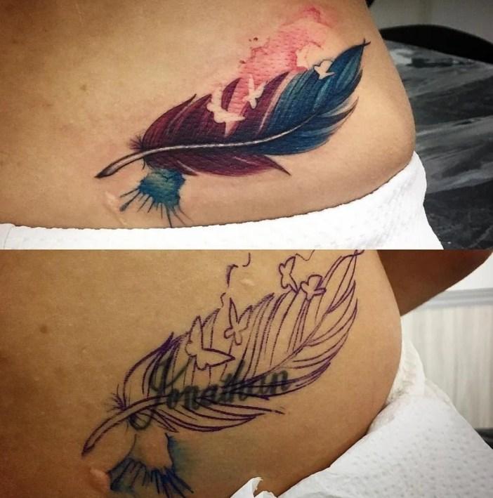 Cobertura de tatuagem antes e depois com nome sendo coberto por pena