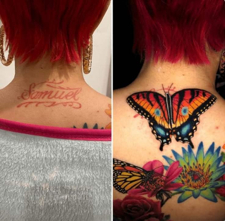 antes e depois de cobertura de tatuagem na nuca: também temos um nome que foi coberto por flores e borboleta.