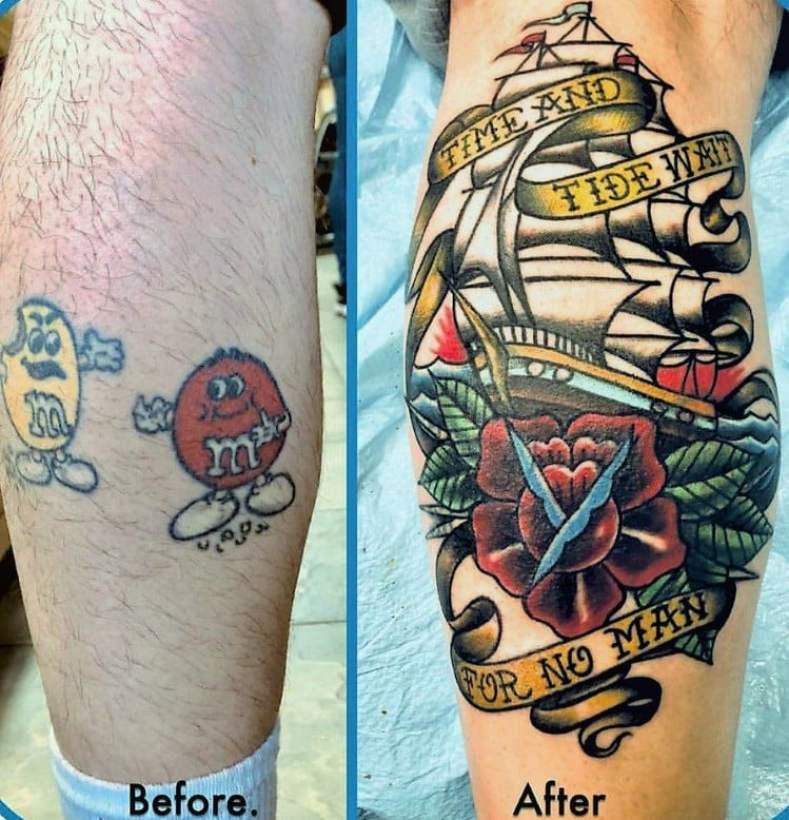 Cobrir tatuagem - montagem de antes e depois de tatuagem masculina que foi coberta
