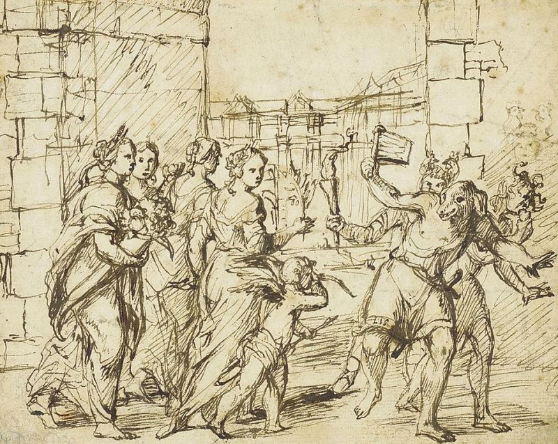 Ilustração do festival Lupercália de Adam Elsheimer, século XVII.