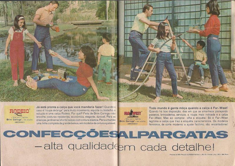 """Publicidade calças jeans """"Rodeio"""" e """"Far-West"""" da Alpargatas."""