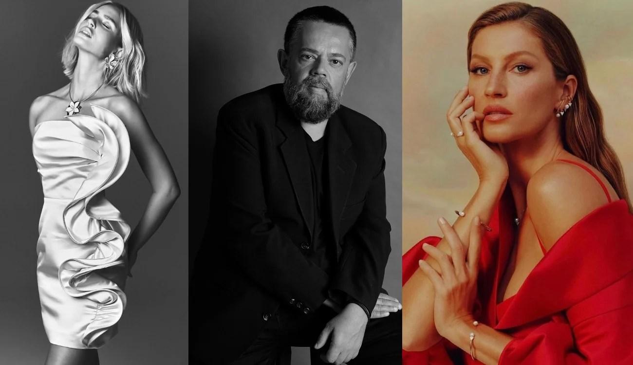Modelo com vestido da campanha Verão 2021, retrato de Vitor Zerbinato e Gisele Bündchen posando com um modelo do estilista.