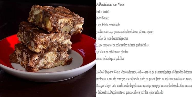 Opções de sobremesa para o Dia dos Namorados: Palha Italiana.