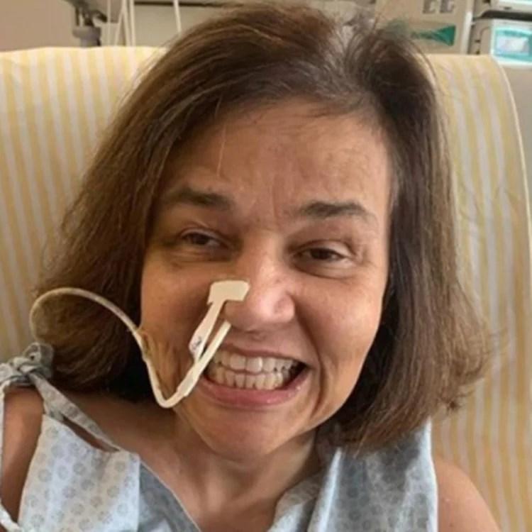 Foto de Claudia Rodruigues no hospital.