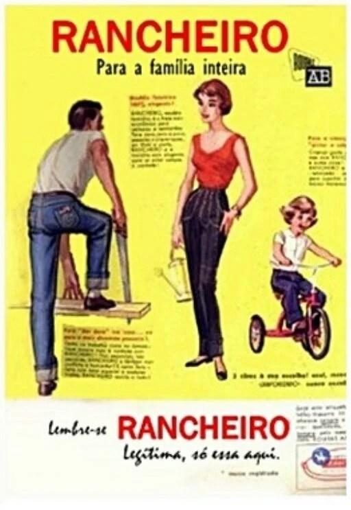 "Publicidade da calça ""Rancheiro"", da Roupas AB."
